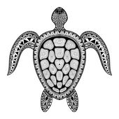 Photo Zentangle tribal stylized turtle. Hand Drawn aquatic doodle vect