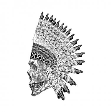 Shading scull with feathered war bannet in zentangle style, Head