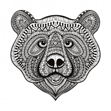 Zentangle stylized Bear face. Hand Drawn doodle vector illustrat