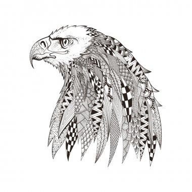 Zentangle stylized head of eagle. Hand Drawn doodle vector illus