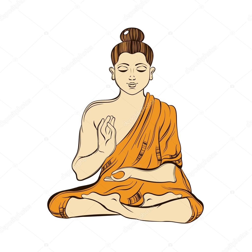buddha illustration hand drawn sitting buddha in meditation yoga spirit 7850