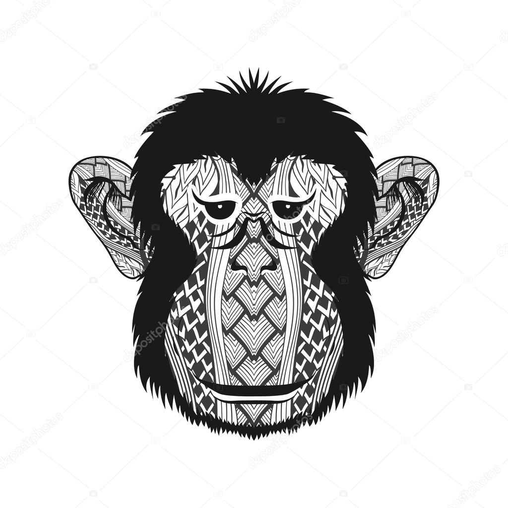 9f0ccd50f Zentangle stylized head Monkey face. Hand Drawn doodle vector illustration  isolated on white background. Sketch for tattoo or indian makhenda design.