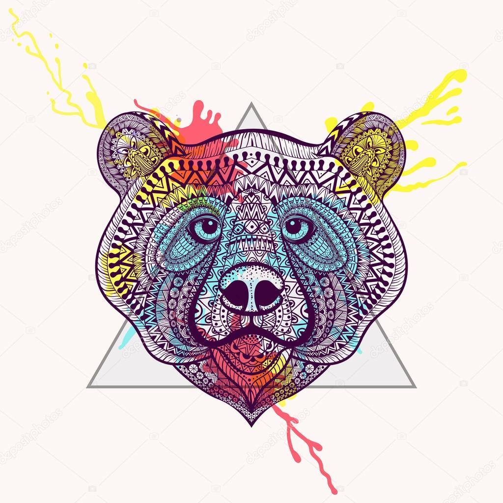 Zentangle estilizado violeta cara de oso en marco del triángulo de ...