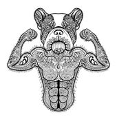 Photo Zentangle stylized strong French Bulldog like bodybuilder. Hand
