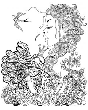Forest fairy with wreath on head hugging swan in flower for anti
