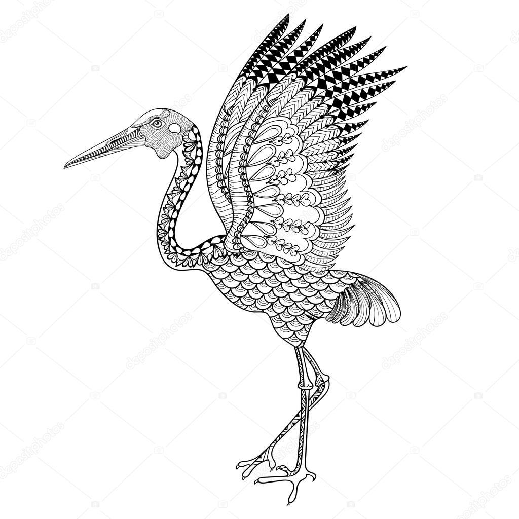 Hand drawn Brolga, Australian crane illustration for antistress