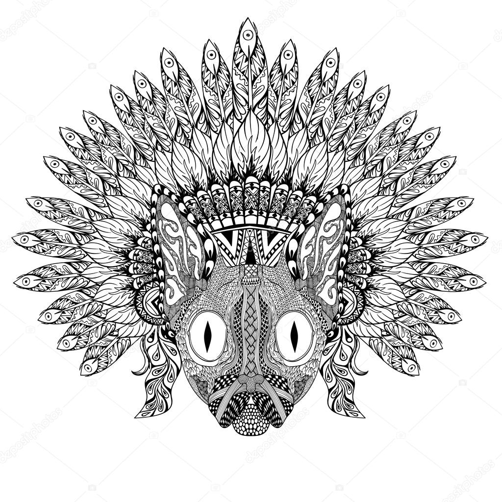 Hand Drawn Cat in Feathered War bonnet in zentangle style, high