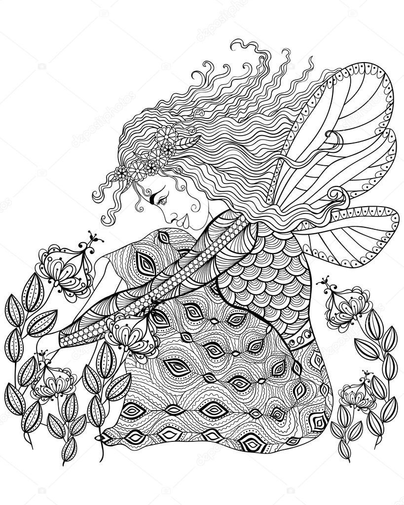 Forest fairy with wings in flower for adult anti stress Coloring