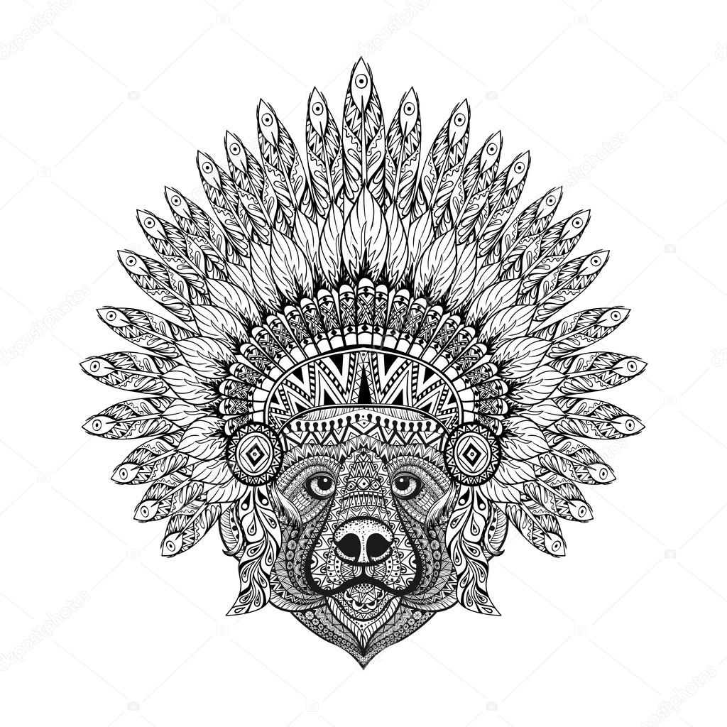 Hand Drawn patterned Bear in zentangle style in  Feathered War b
