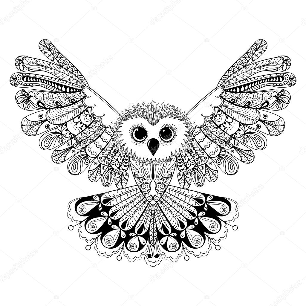 Zentangle stylized Black Owl. Hand Drawn vector illustration iso