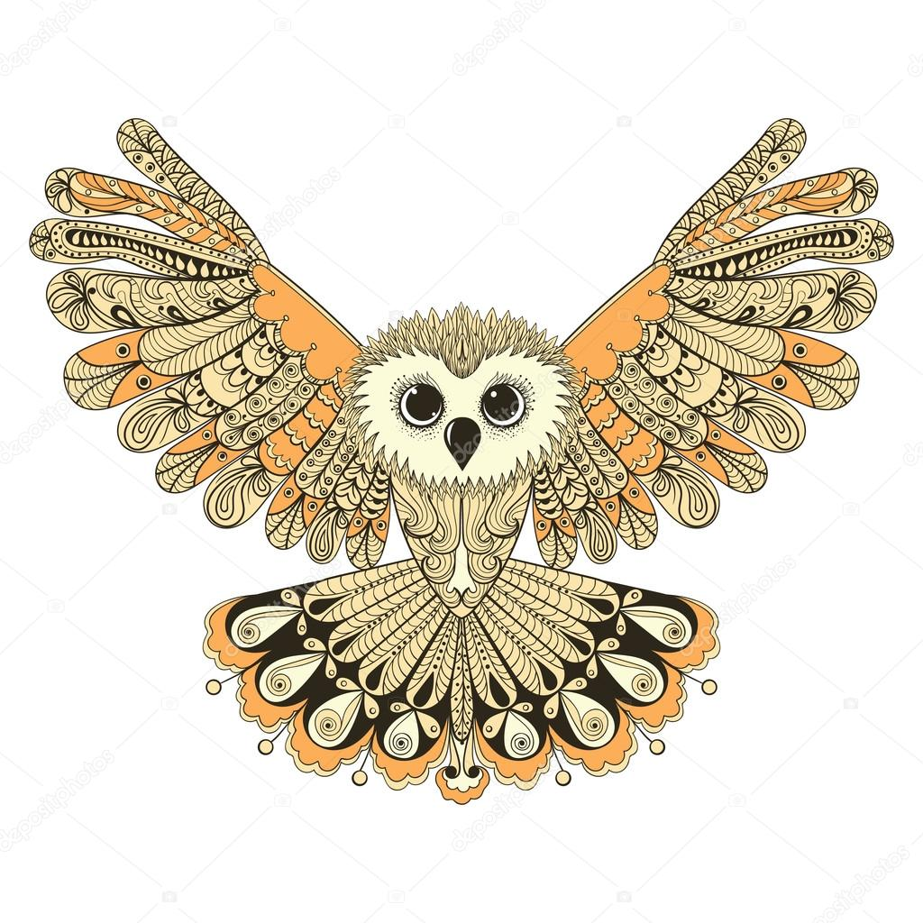 Zentangle stylized Brown flying Owl. Hand Drawn vector illustrat