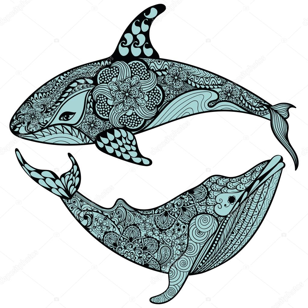 Zentangle stylized Blue Sea Shark and Whale. Hand Drawn vector i