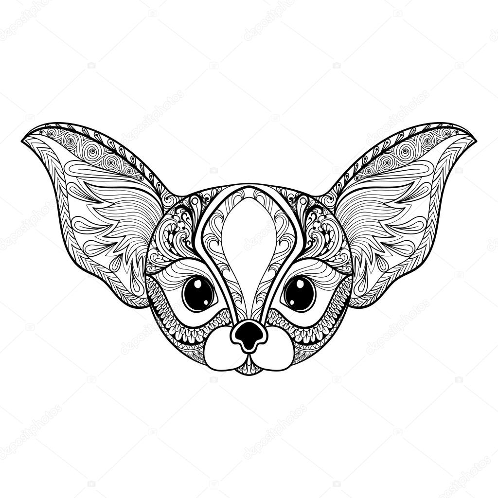 Zentangle stylized desert mini Fox face. Hand Drawn vector illus