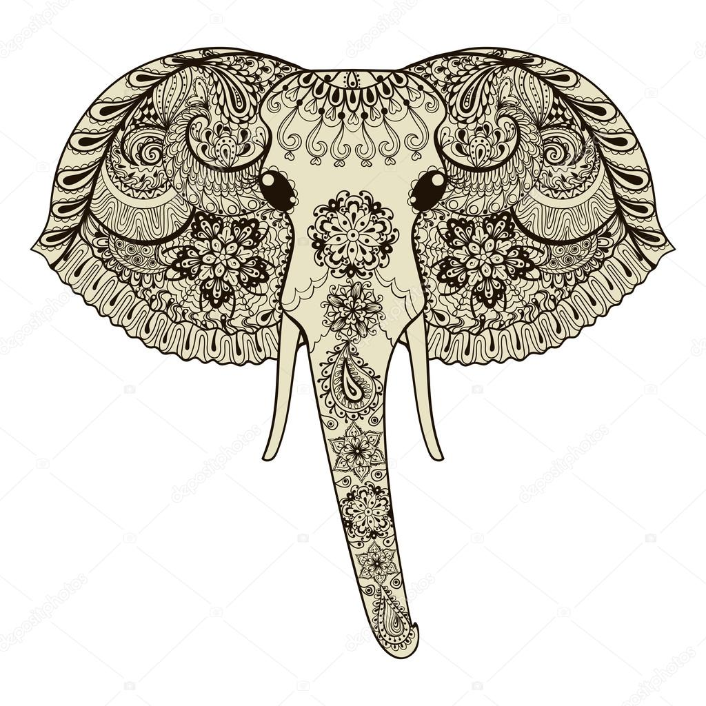 Zentangle stylized Indian Elephant. Hand Drawn vector illustrati