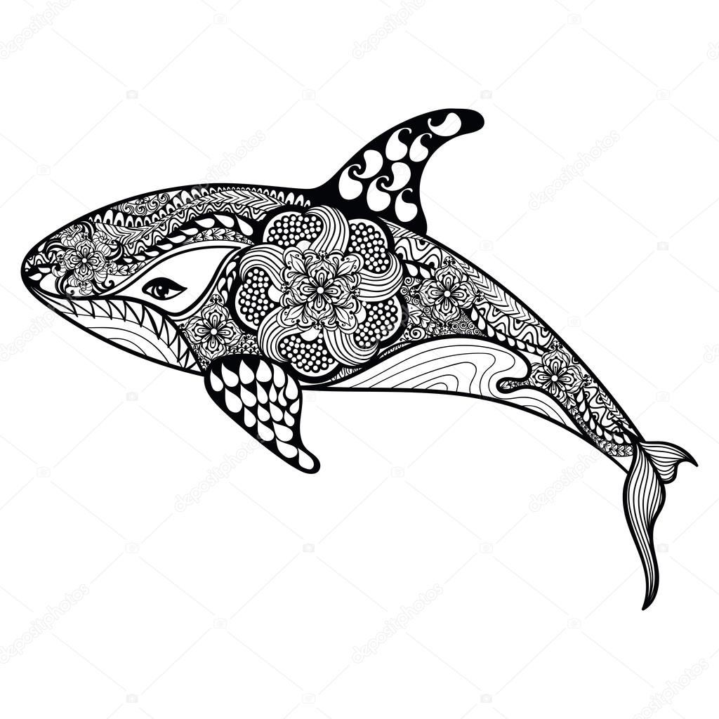 Zentangle stylized Sea Shark. Hand Drawn vector illustration iso