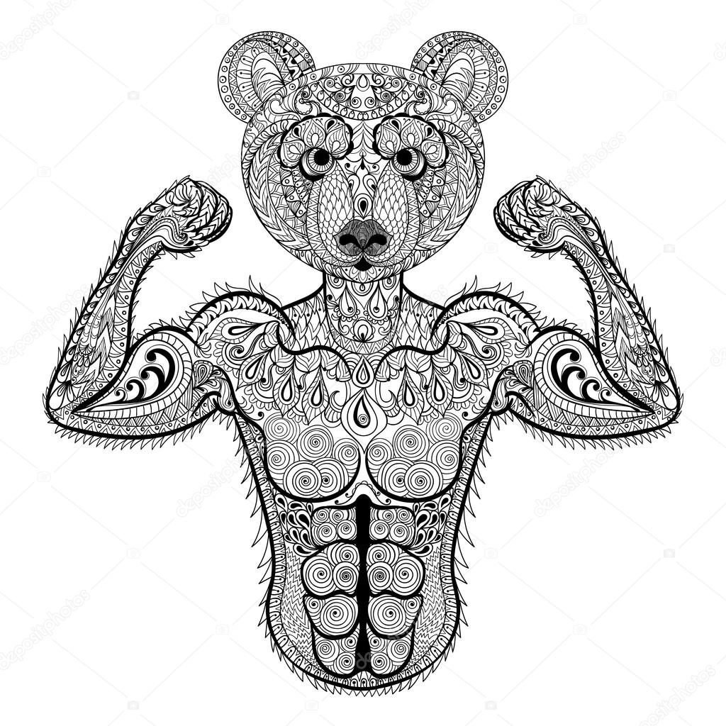 Zentangle stylized strong Bear. Hand Drawn sport vector illustra