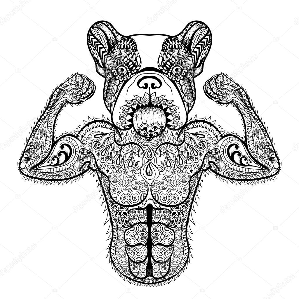 Zentangle stylized strong French Bulldog like bodybuilder. Hand