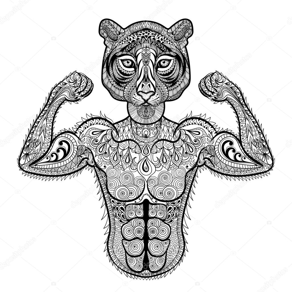 Zentangle stylized strong Tiger. Hand Drawn sport vector illustr