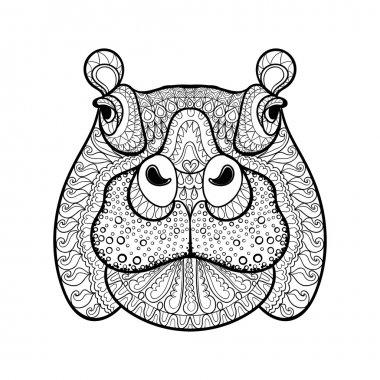 Hand drawn tribal hippopotamus head, animal totem for adult Colo