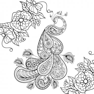 Zentangle Peacock totem in flowersfor adult anti stress Coloring