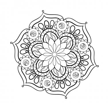 Zentangle stylized elegant black Mandala for coloring page. Hand