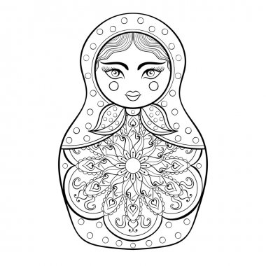 Zentangle stylized elegant Russian doll, Matryoshka doll. Hand d