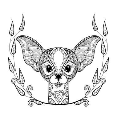 Zentangledesert Fox head totem in frame for adult anti stress Co