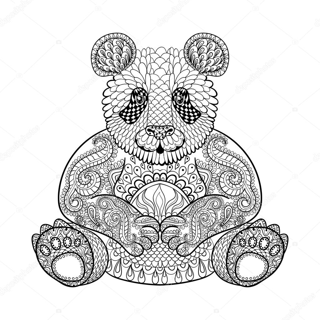 Hand drawn tribal Panda animal totem for adult Coloring Page in