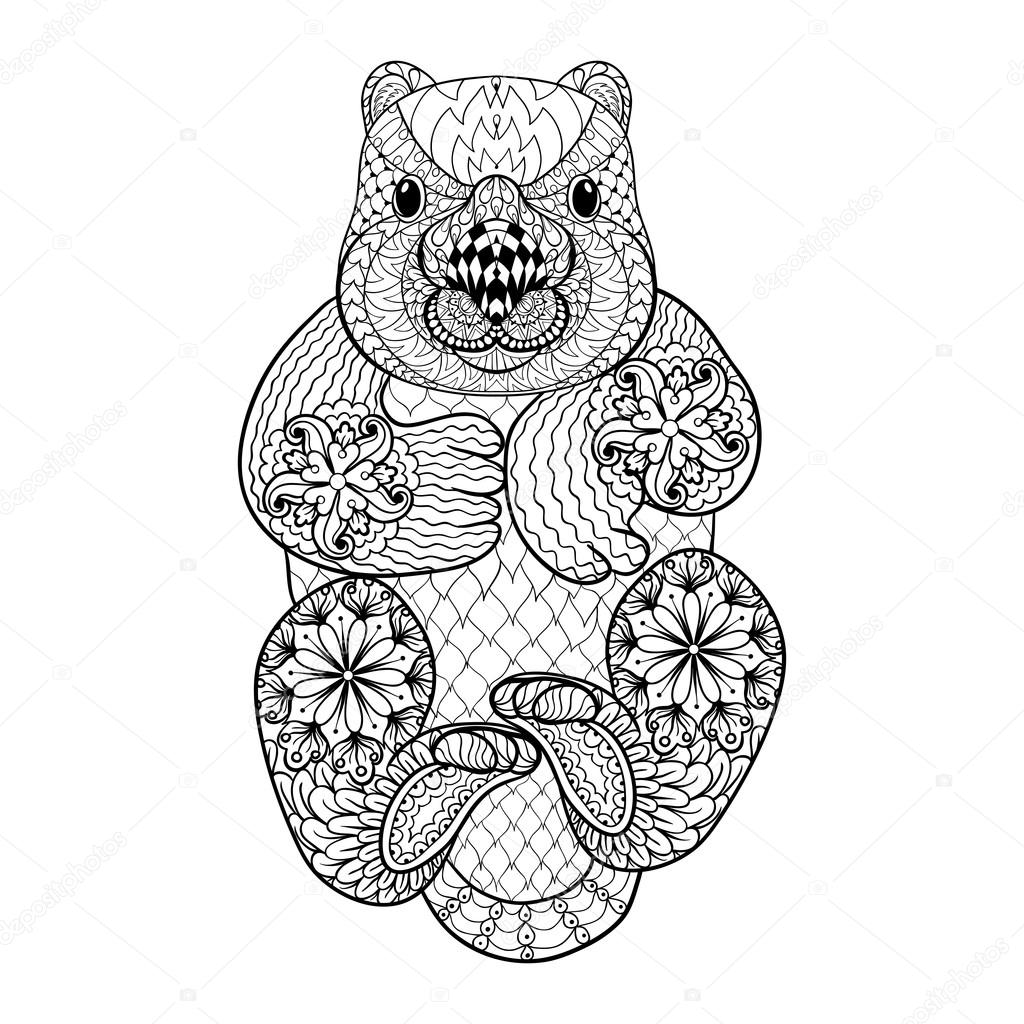 Wonderful Hand Drawn Tribal Wombat, Animal Totem For Adult Coloring Page I U2014 Stock  Vector