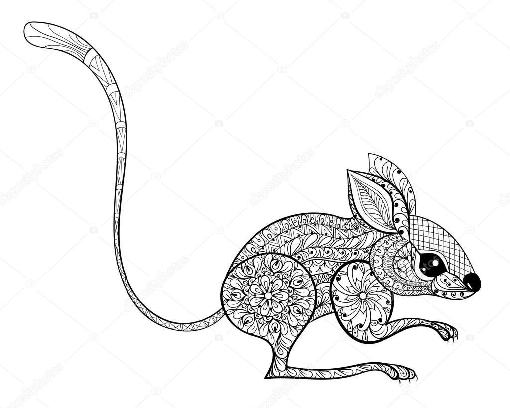 Hand gezeichnet zentangled Maus Totem für Anti-Stress-Färbung Seite ...
