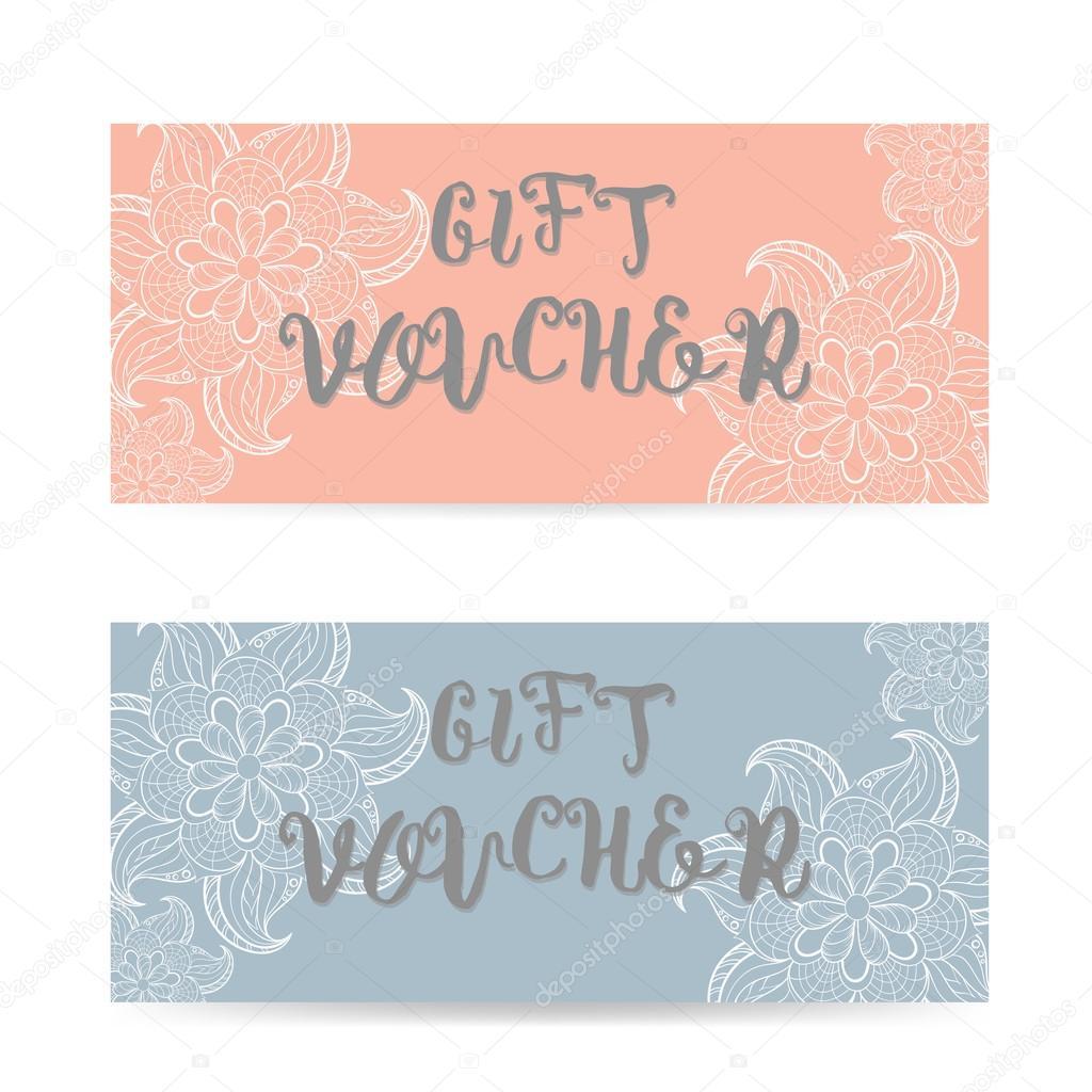 Pink und Blau Geschenkgutschein Schablone mit Spitze zentangle ...