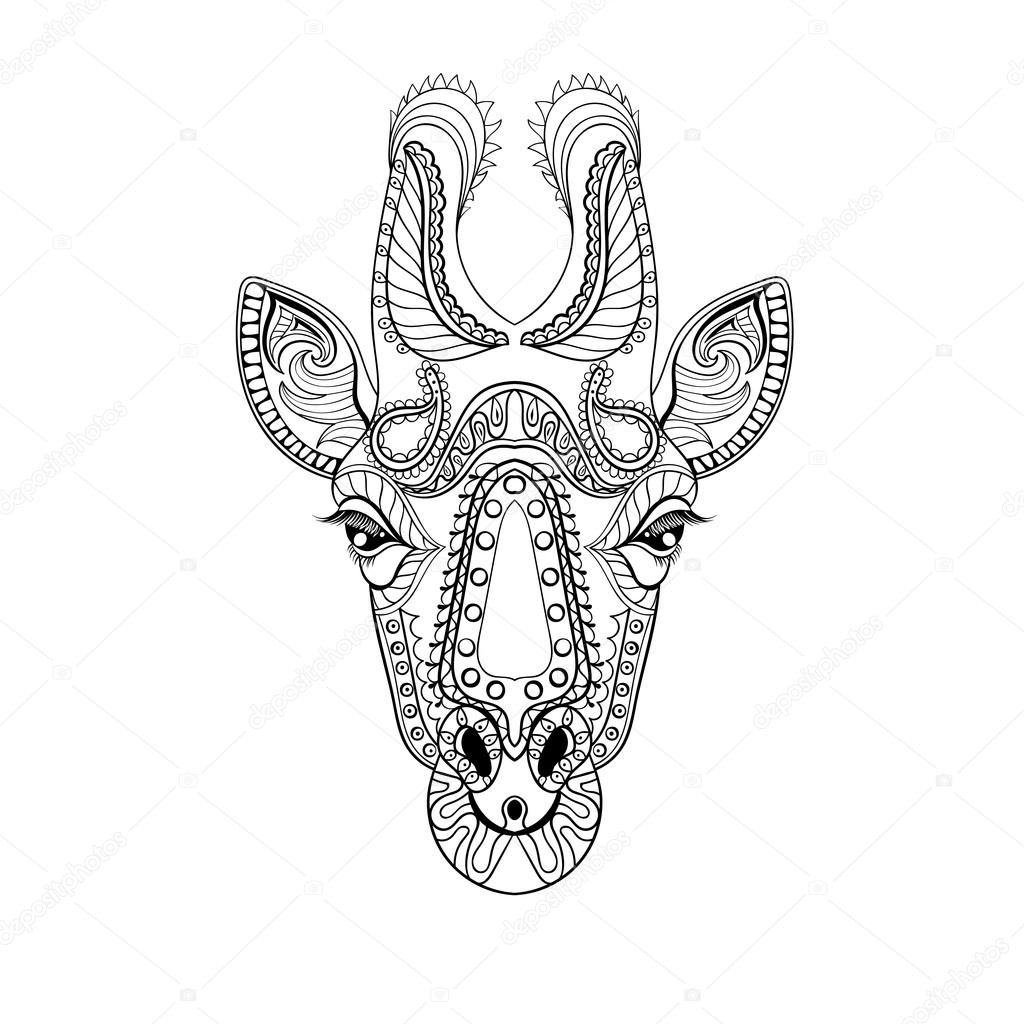Coloriage Animaux Totem.Zentangle Giraffe Tete Totem Pour Adultes Anti Stress Coloriage