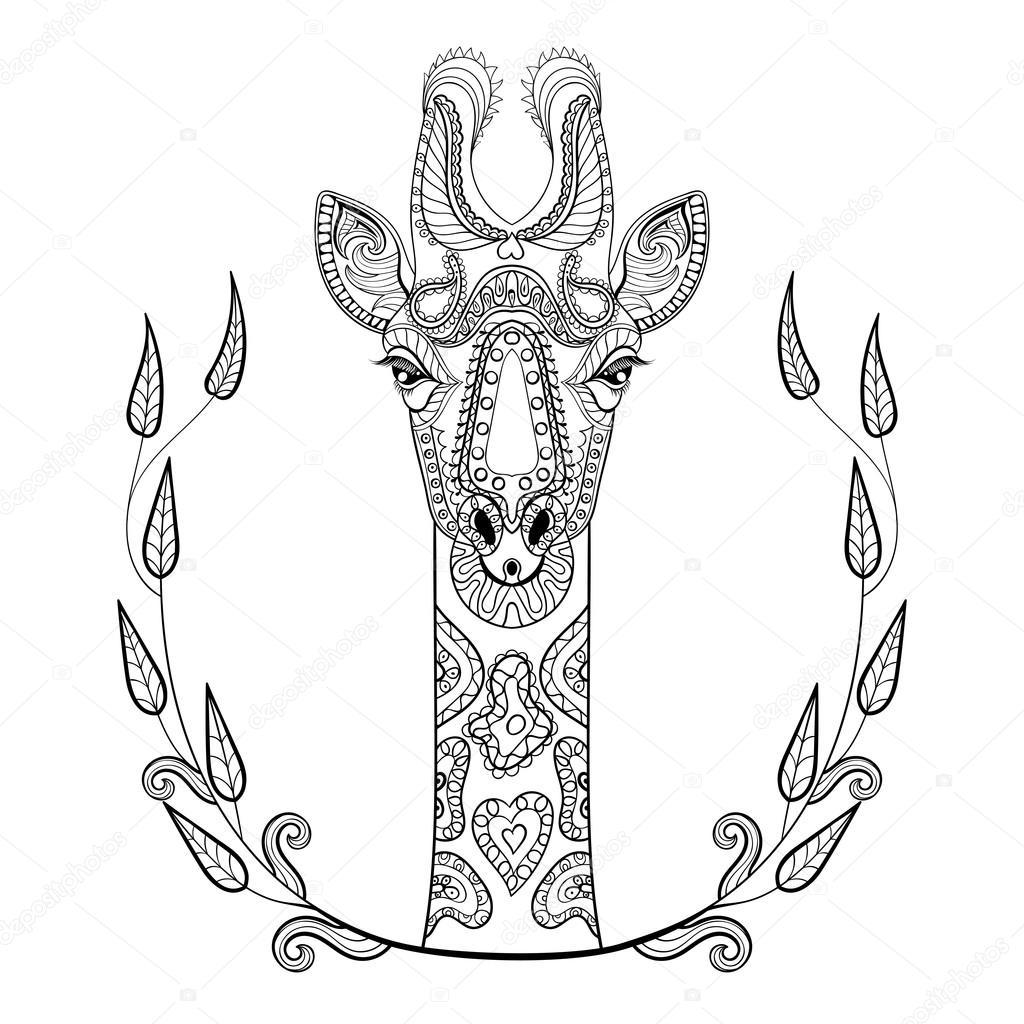zentangle giraffe head totem in frame for anti stress colo