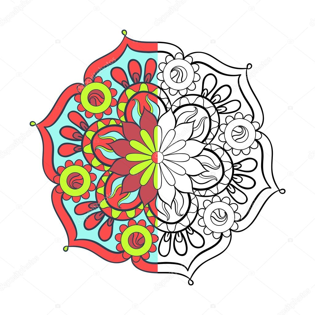 Zentangle estilizado elegante color árabe Mandala para colorear pag ...