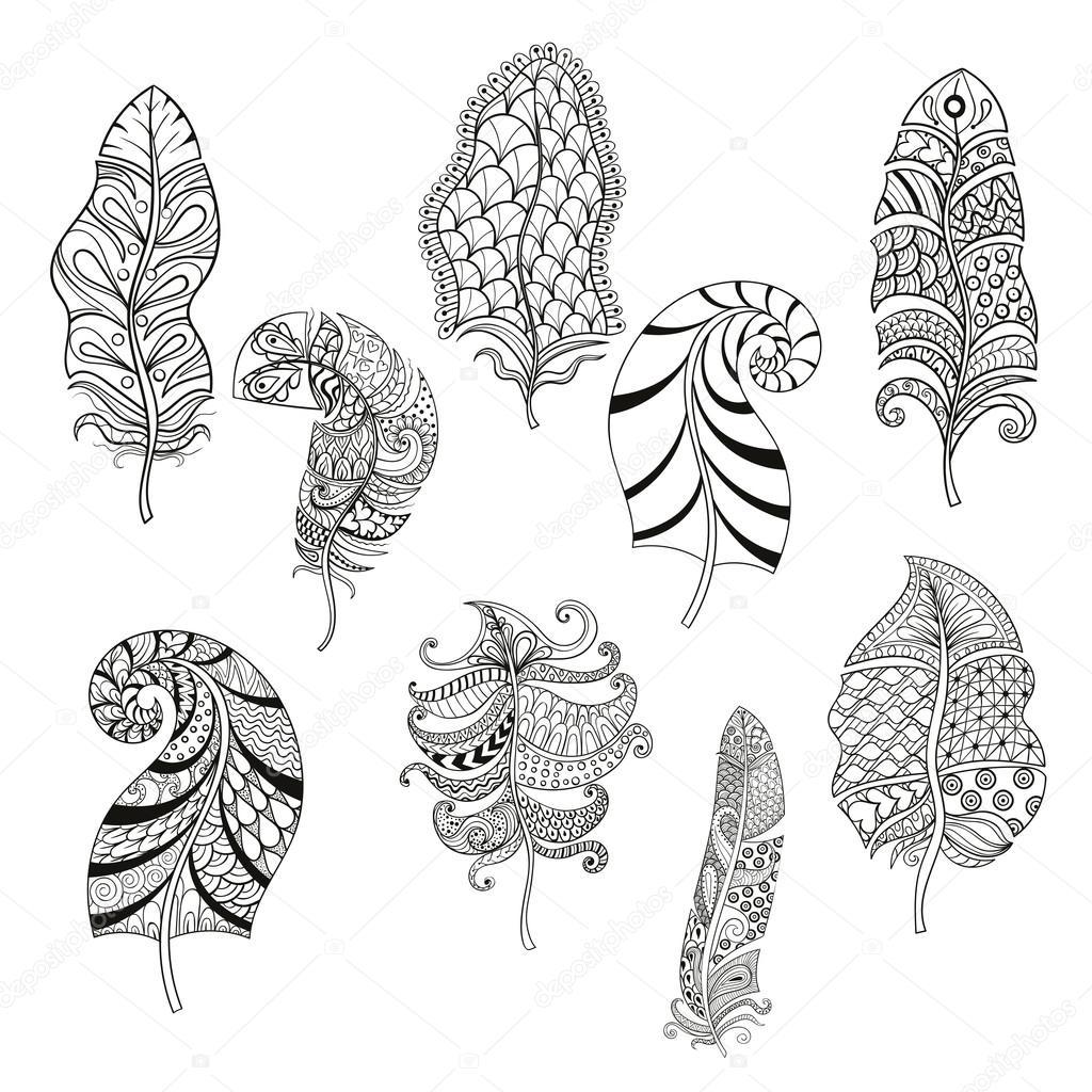 Zentangle había estilizado nueve plumas para colorear página. V ...