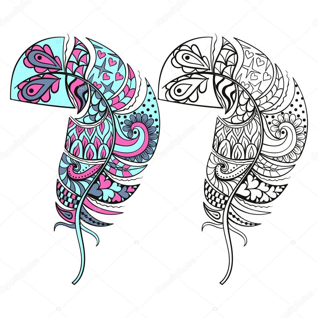 Zentangle estilizado tribal color y monocromos plumas para colo ...