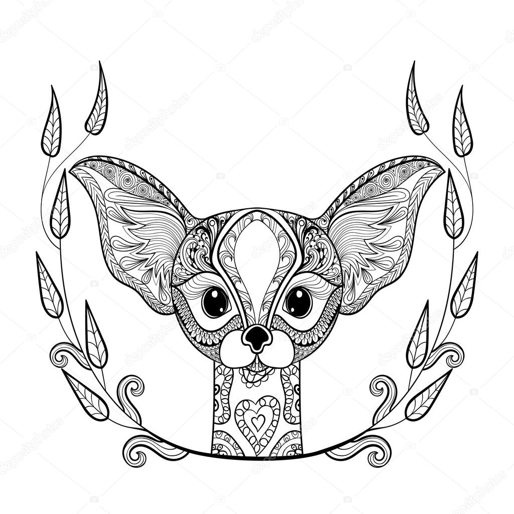 Zentangle Desert Fox Head Totem In Frame For Adult Anti Stress Coloring Page Art Therapy Illustration Doodle Style Vector Monochrome Sketch With