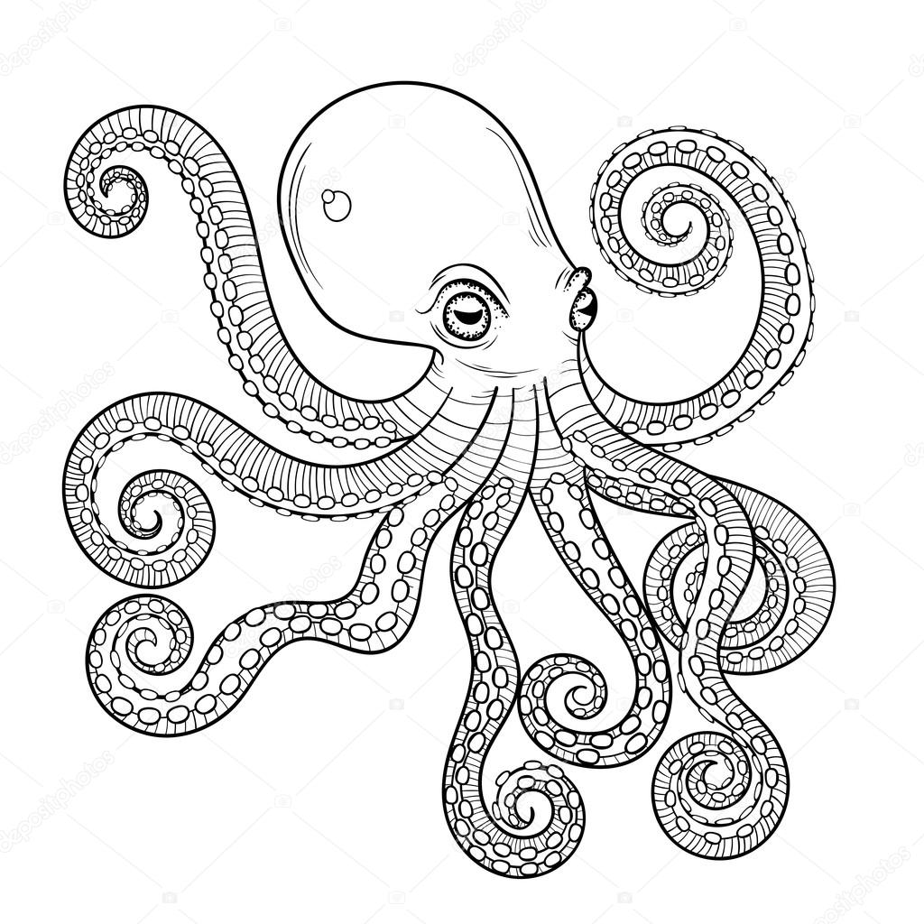 Hand Drawn Engraving Octopus Animal Totem For Adult Coloring Pa