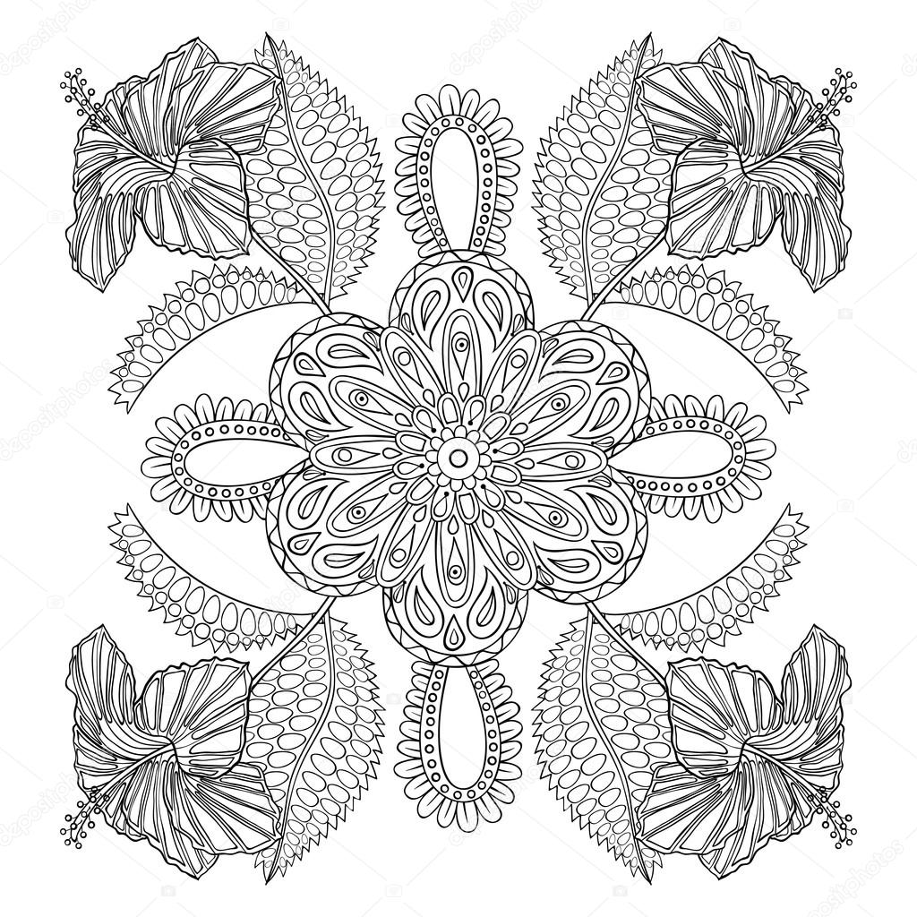 Coloring page with exotic flowers brunch, zentangle illustartion