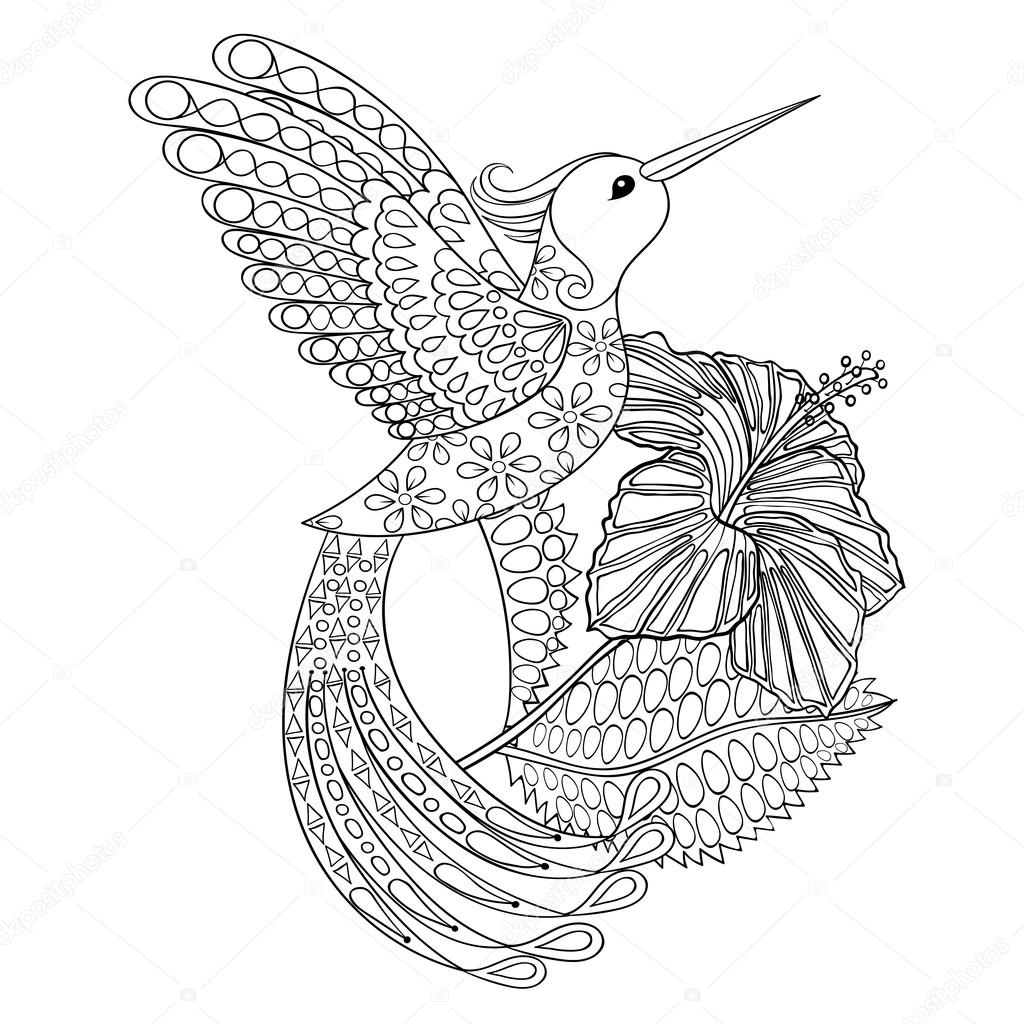 Picture Coloring Hummingbird Coloring Page With Hummingbird In