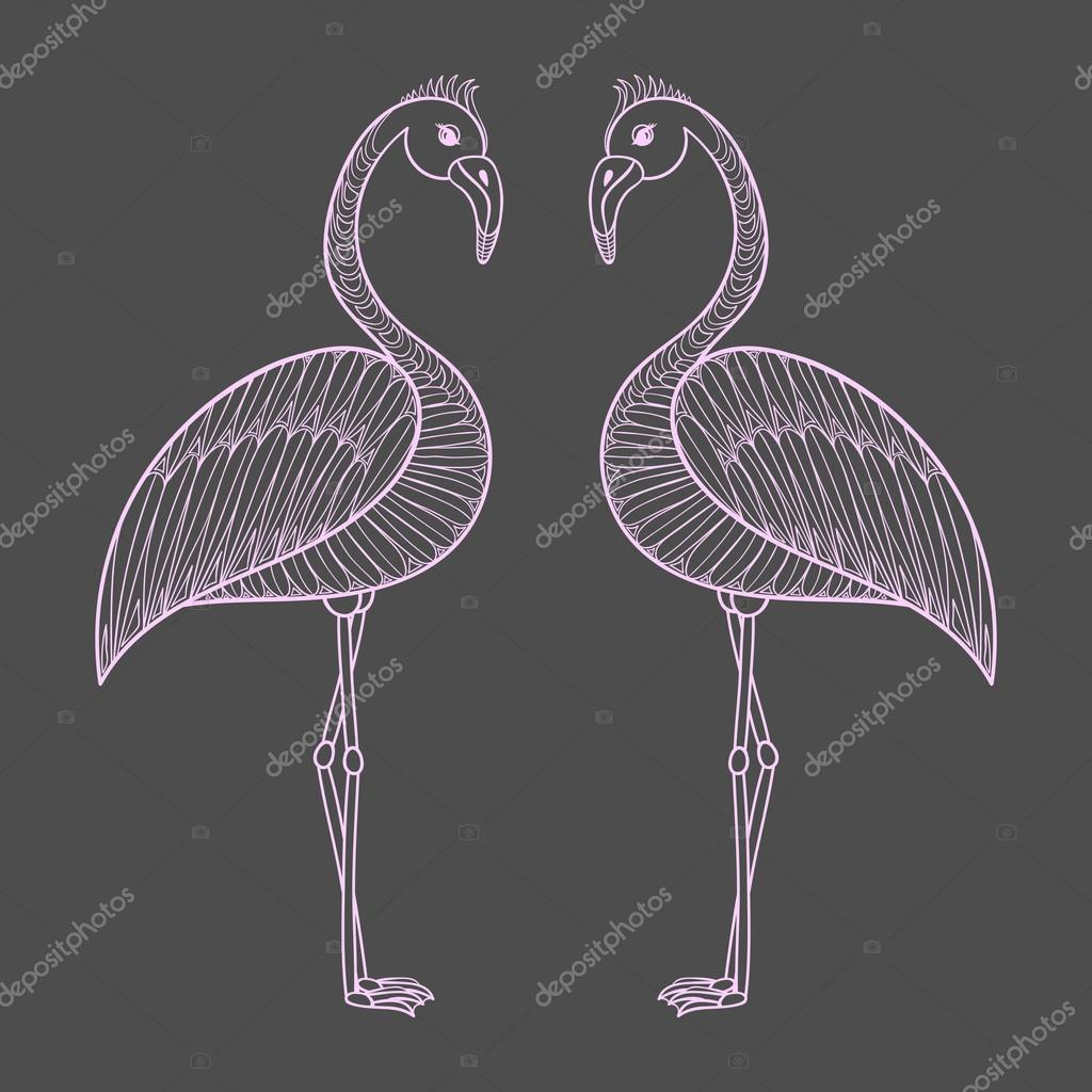 Página para colorear de aves flamencos rosa, zentangle illustartion ...