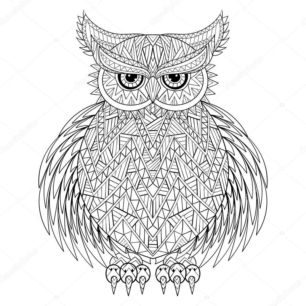 getekend zentangle uil vogel totem voor volwassen