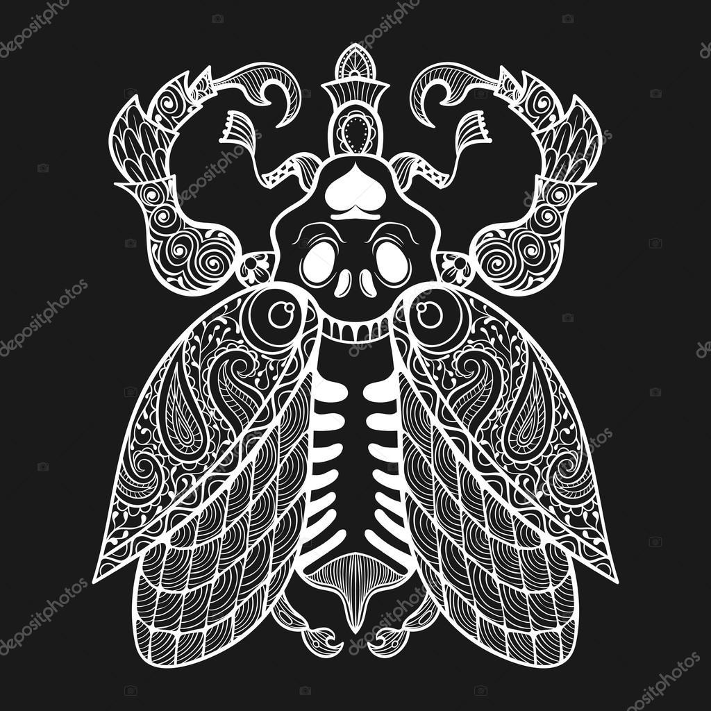 Zentangle Bug with skull, monochrome illustartion tribal totem i