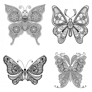 Zentangle vector black Butterflies set  for adult anti stress co