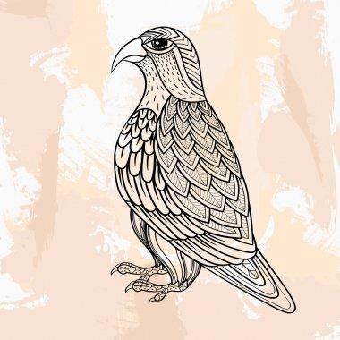 Zentangle vector Falcon, tattoo in hipster style. Ornamental tri