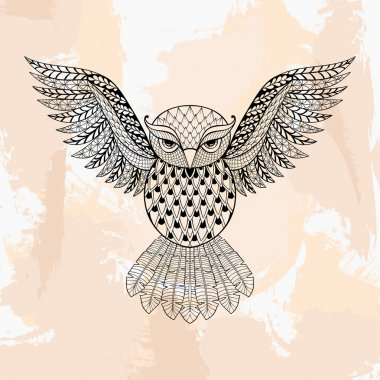 Zentangle vector Owl, tattoo in hipster style. Ornamental tribal