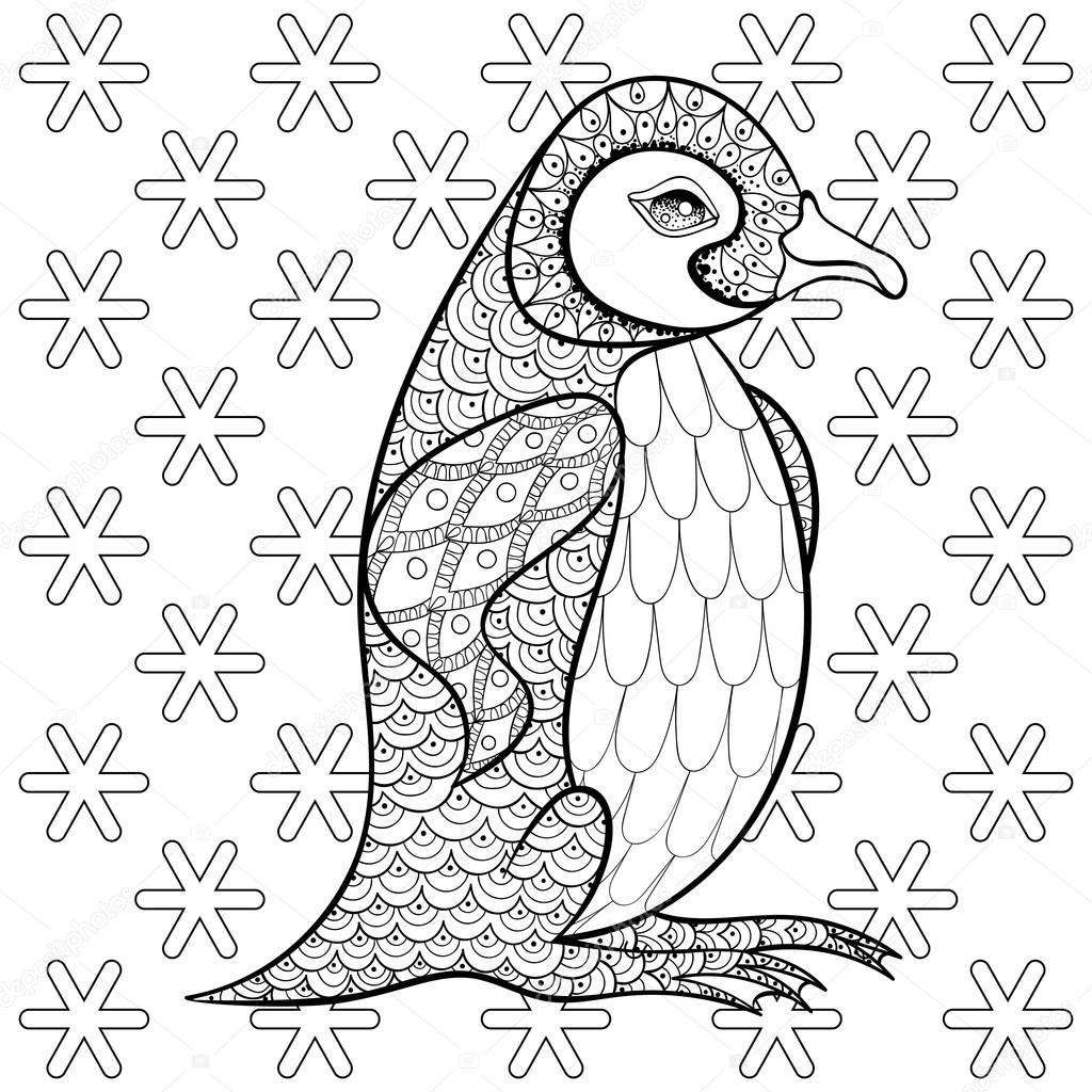 Coloring pages with King Penguin among snowflakes, zentangle ill ...