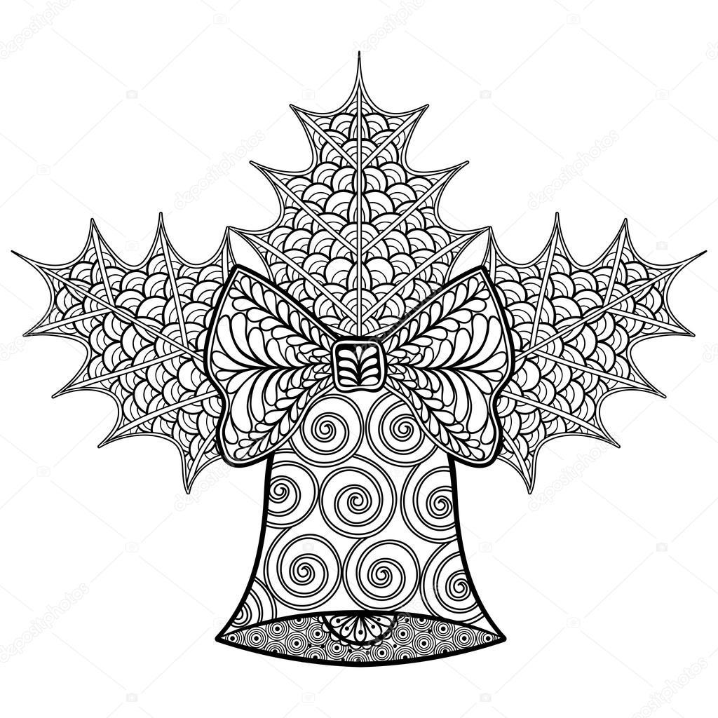 раскраски с рождеством декоративной белл и омелы дзен