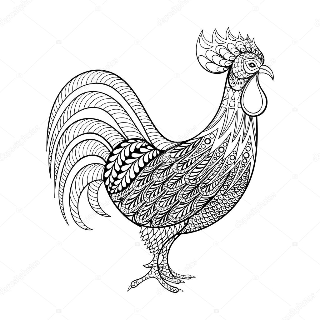 rooster chicken domestic farmer bird for coloring pages zenta