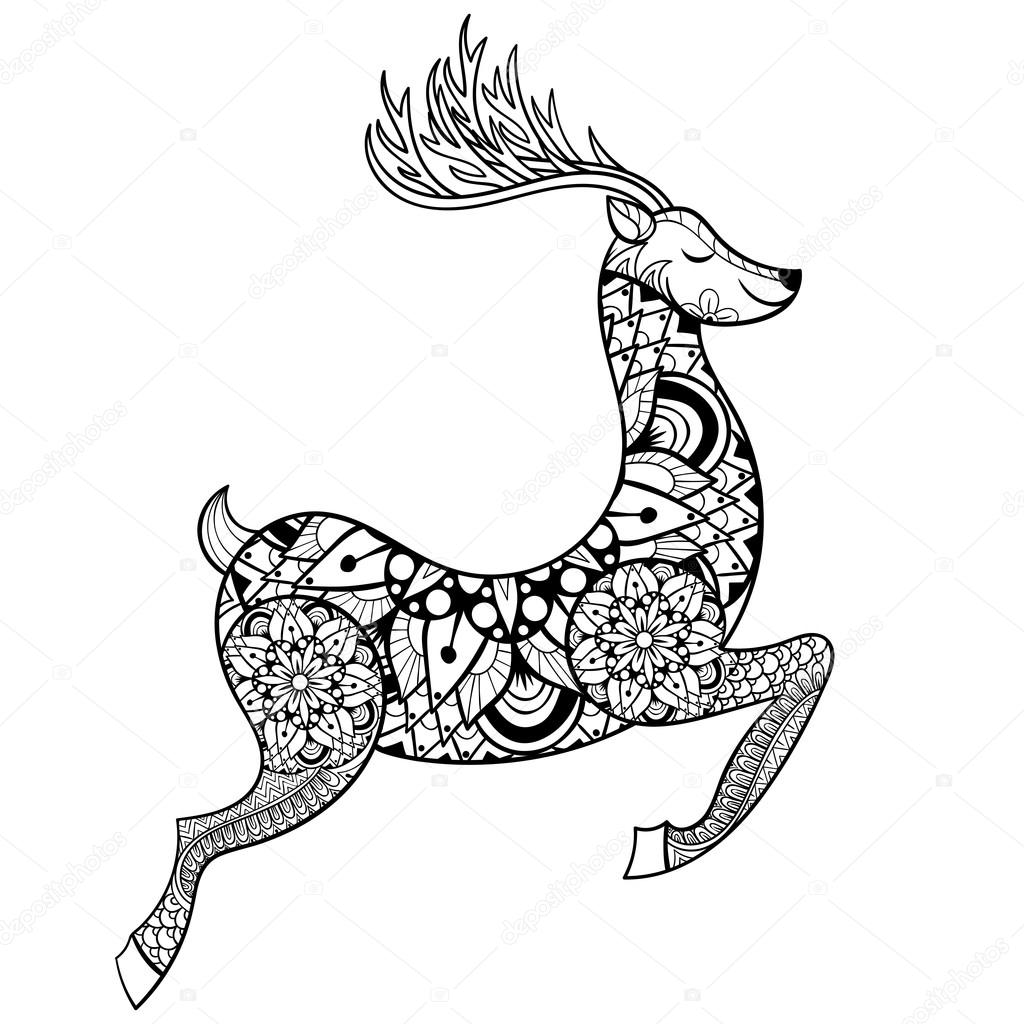 zentangle vector reindeer for adult anti stress coloring. Black Bedroom Furniture Sets. Home Design Ideas